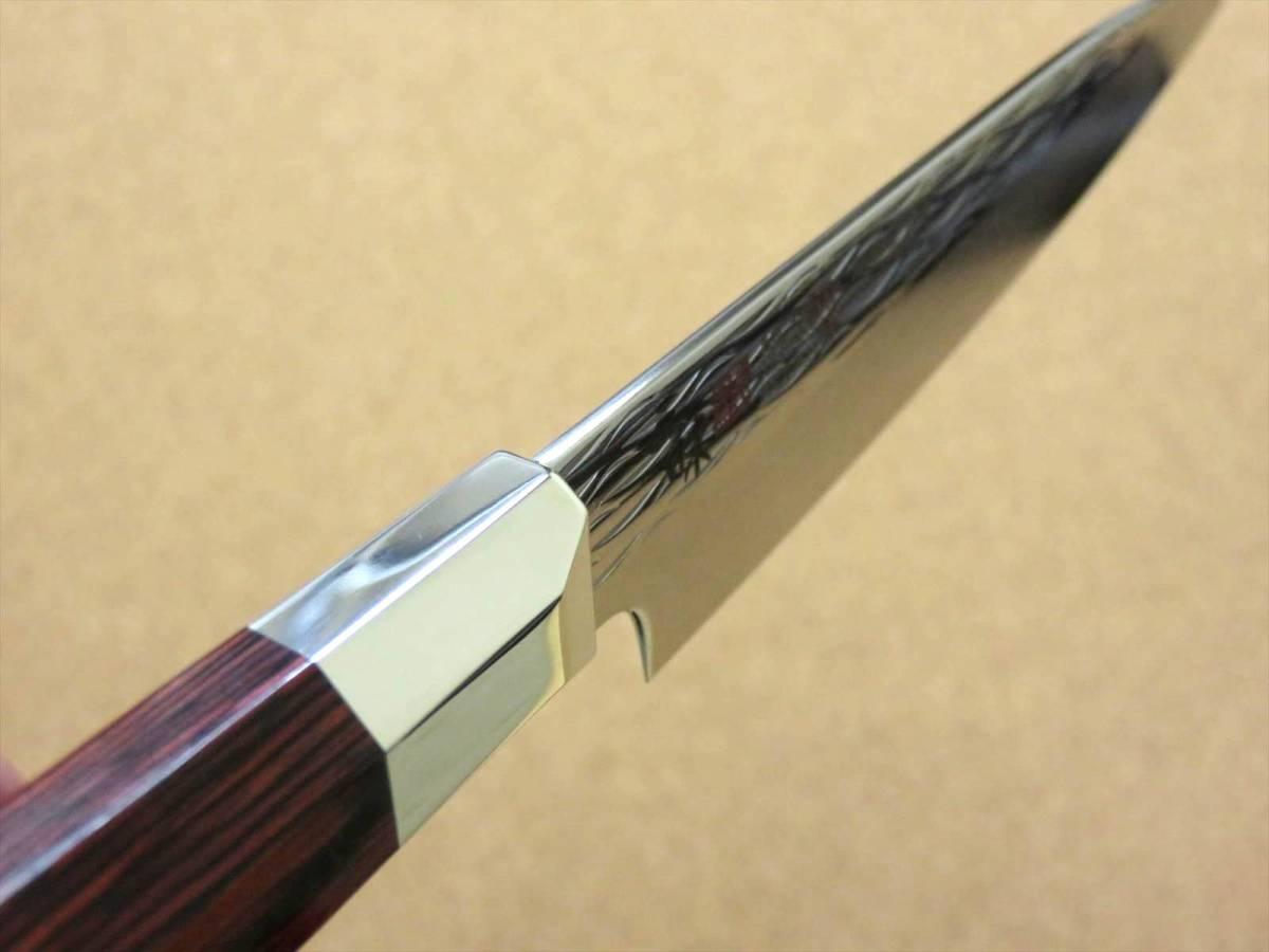 関の刃物 ペティナイフ 11cm (110mm) 三昧 波目 ダマスカス33層 VG-10 ステンレス 赤合板 果物包丁 皮むき 野菜 小型両刃ナイフ 国産日本製_画像8