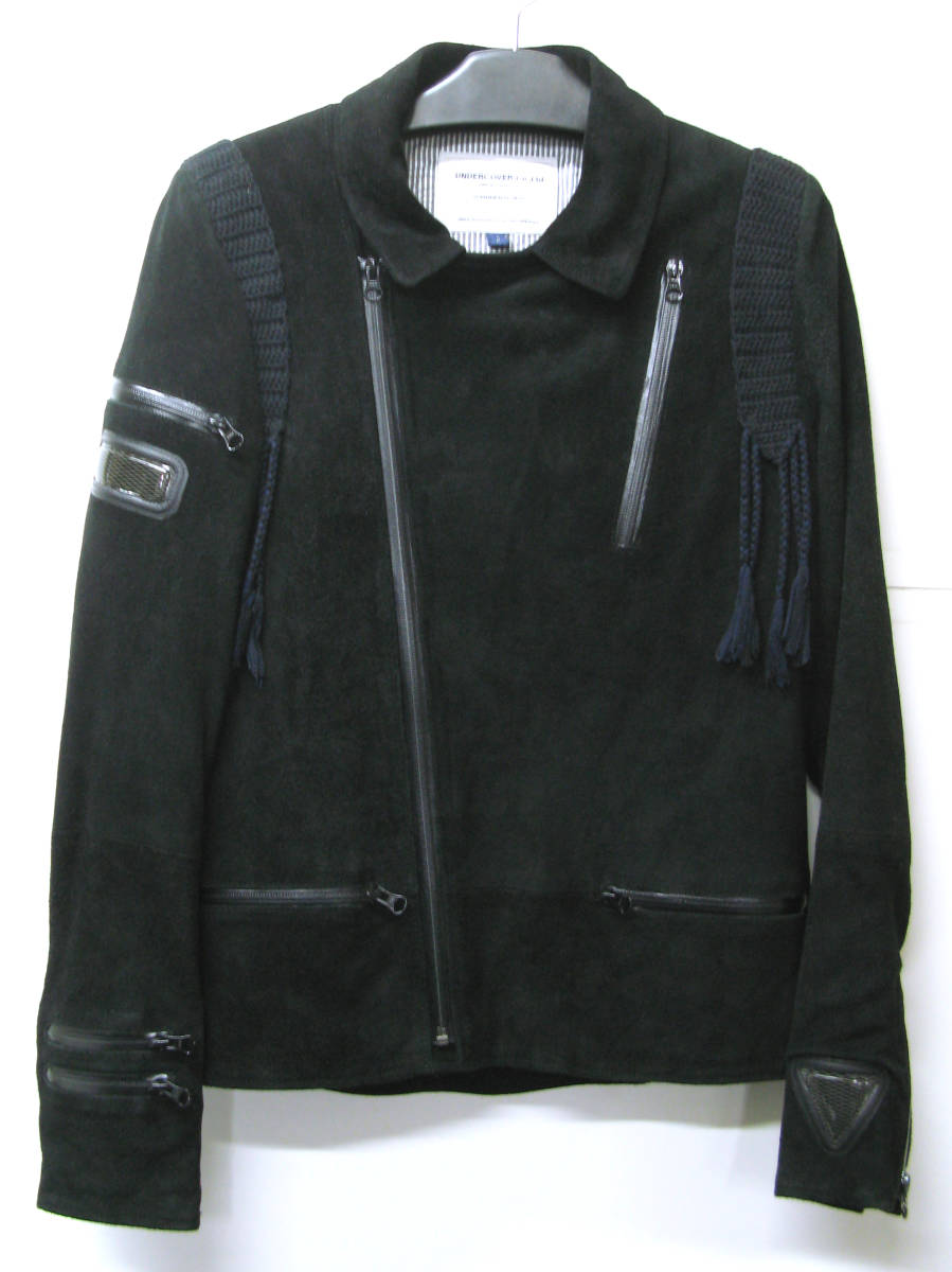 アンダーカバー UNDER COVER:バックスキン レザー ライダース ブルゾン (ジャケット 本革 UNDER COVER Leather jacket SUMMER MADNESS_画像1