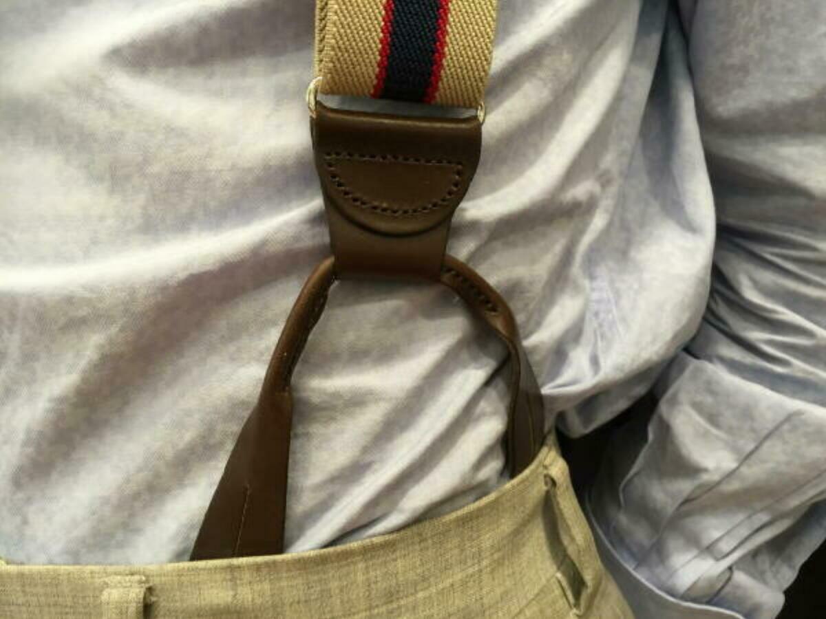 サスペンダー メンズ 紳士 米国製 稀少品ブレイシーズ用 Brace レザーエンドx3 Brown ブラウン B122_b122