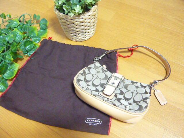 【新品】正規店購入COACHコーチ シグネチャーブラウン6362 保存袋つき ミニバッグポーチショルダーバッグ_画像1