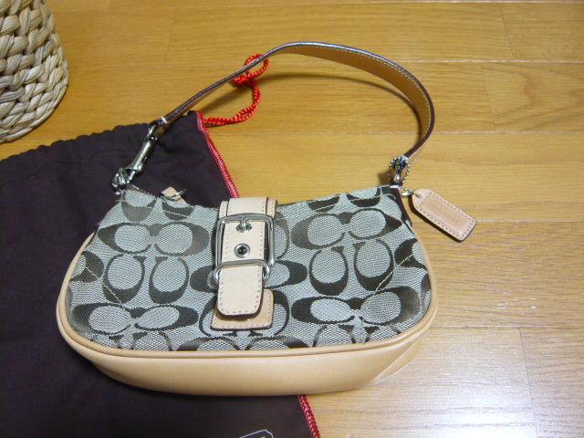 【新品】正規店購入COACHコーチ シグネチャーブラウン6362 保存袋つき ミニバッグポーチショルダーバッグ_画像2