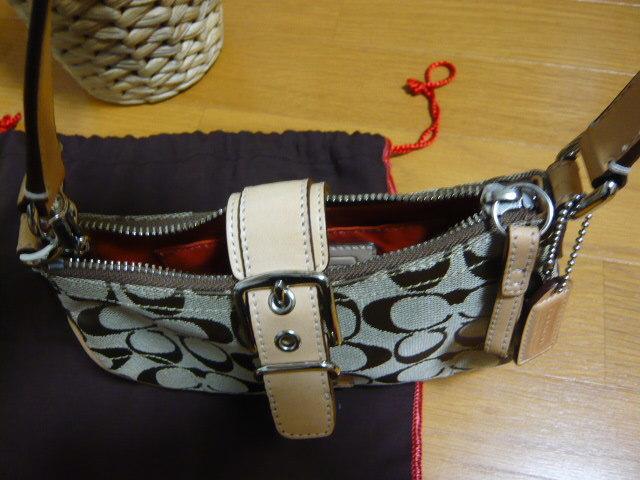 【新品】正規店購入COACHコーチ シグネチャーブラウン6362 保存袋つき ミニバッグポーチショルダーバッグ_画像4