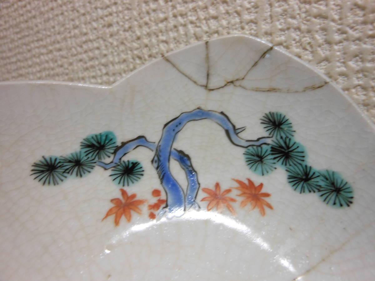 古陶磁その96 柿右衛門手(濁手) 色絵鳥に松竹梅の図桜花弁型皿 延宝(1680年頃) 鋳掛継あり 甘手です 共直しはありません 真作保証_鋳掛継(ガラス継・焼継)あり。