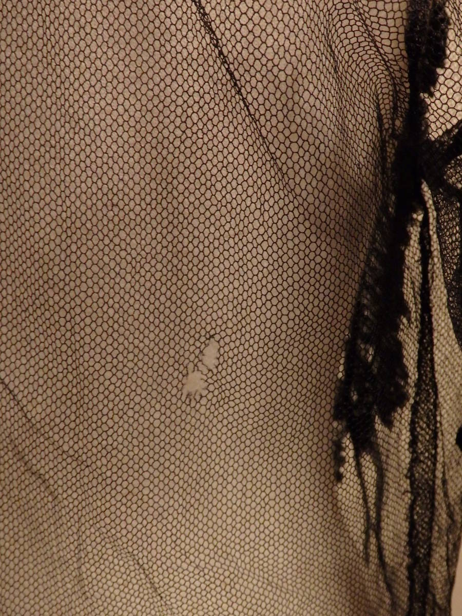 フランスヴィンテージ30'sチュールブラウス黒レースフリル/10's20's40'sアンティークΓLT_画像6