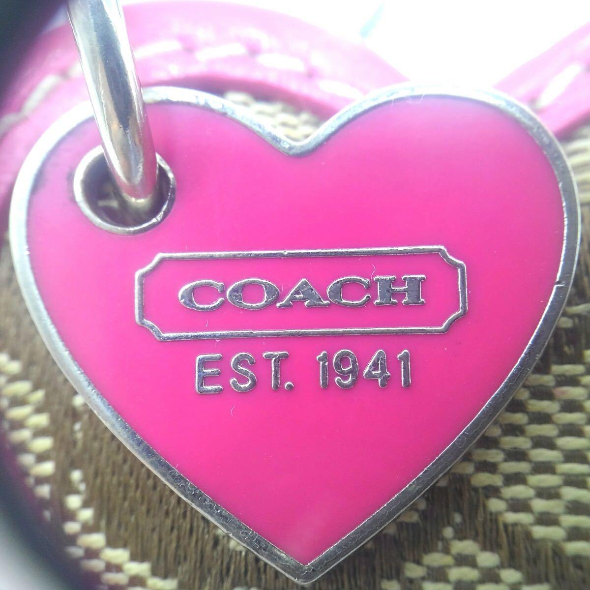 ◆COACH コーチ シグネチャー ハート キーホルダー◆レディースアクセサリー/バッグチャーム/ジャガード/レザー/小物/雑貨/美品/CB0_画像5