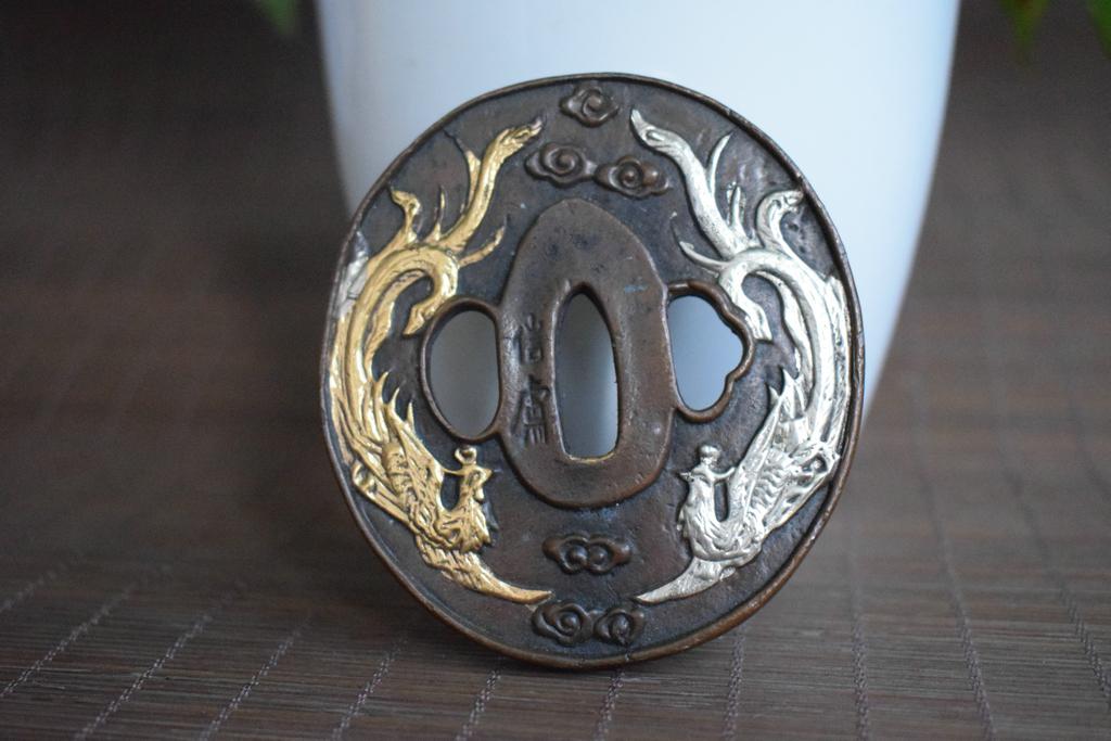 刀鍔 銅製 留金銀 雙鳳紋 刀鐔 刀裝具 武具 賞物
