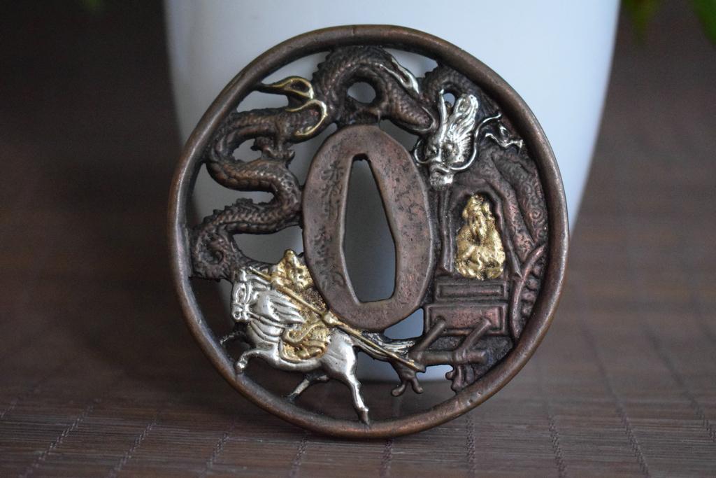 刀鍔 銅製 留金銀 飛龍騎士紋 刀鐔 刀裝具 武具 賞物