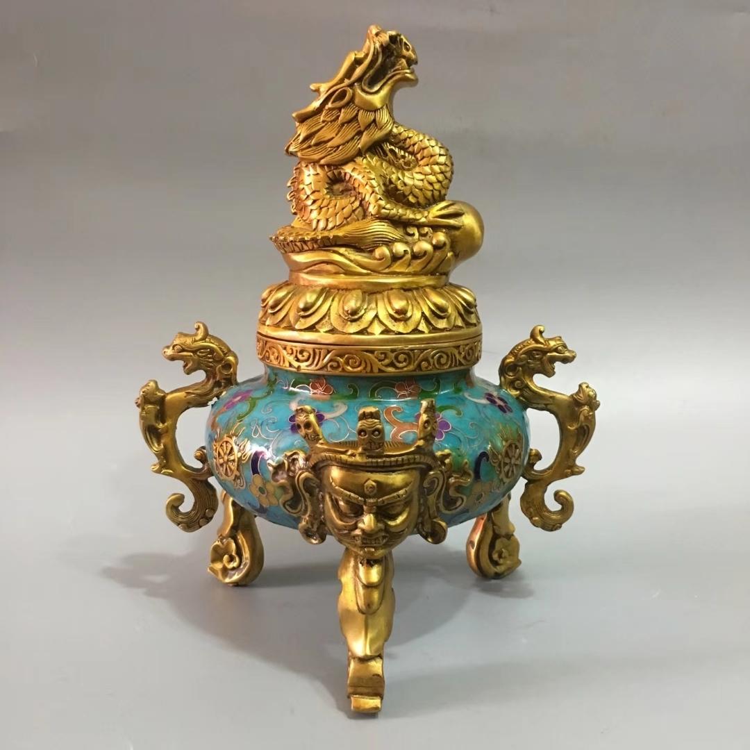 香炉 七宝焼 精彫 銅製 神獣紋 盤龍紋 金剛炉 熏香炉 仏具 茶道 賞物 置物 希少珍品