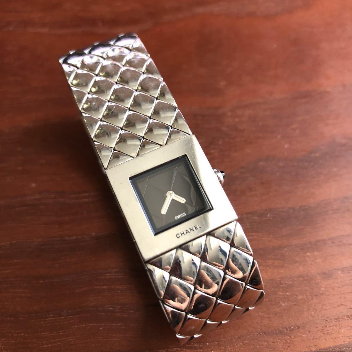1円 シャネル CHANEL マトラッセ クォーツ ステンレス 腕時計 不動品
