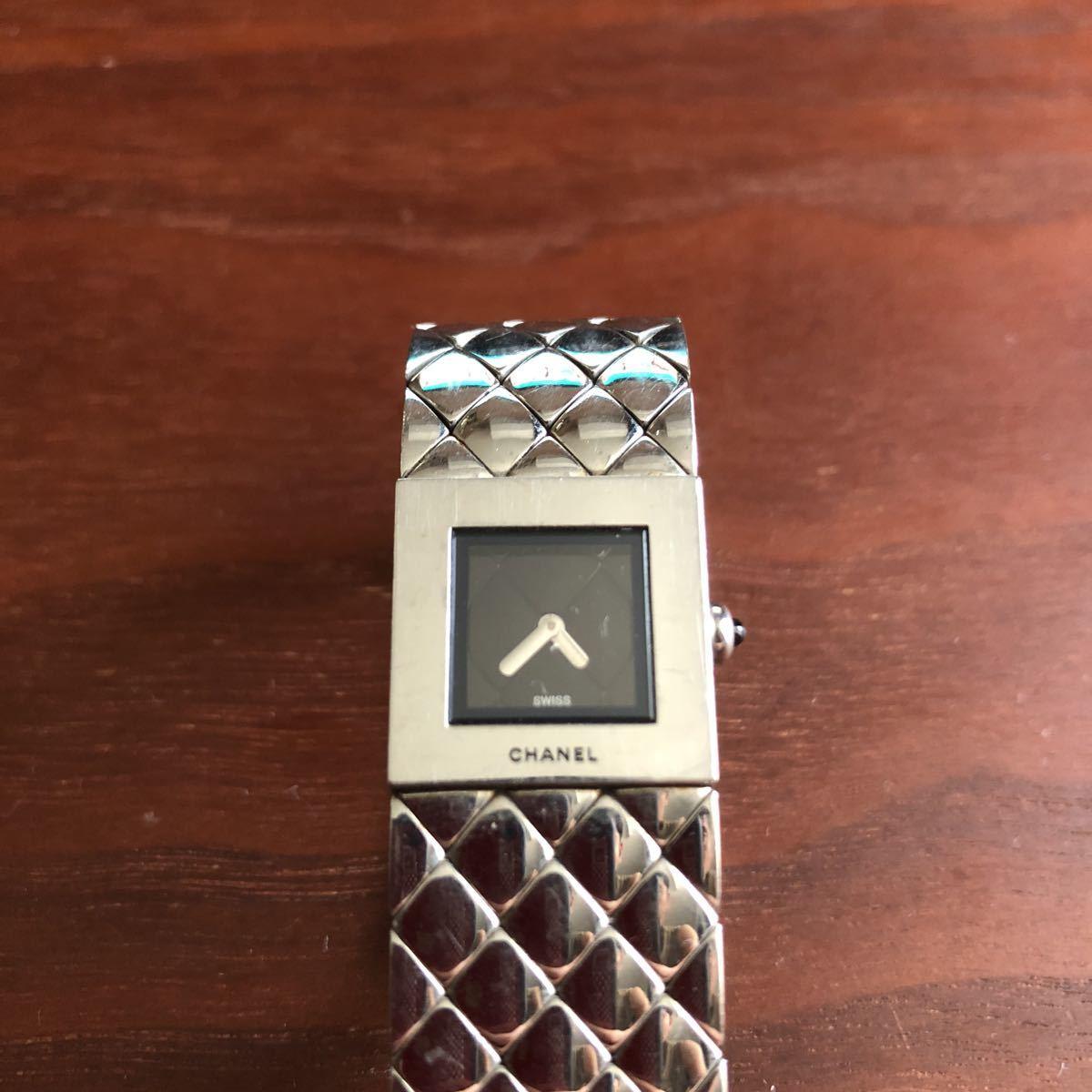 1円 シャネル CHANEL マトラッセ クォーツ ステンレス 腕時計 不動品_画像6