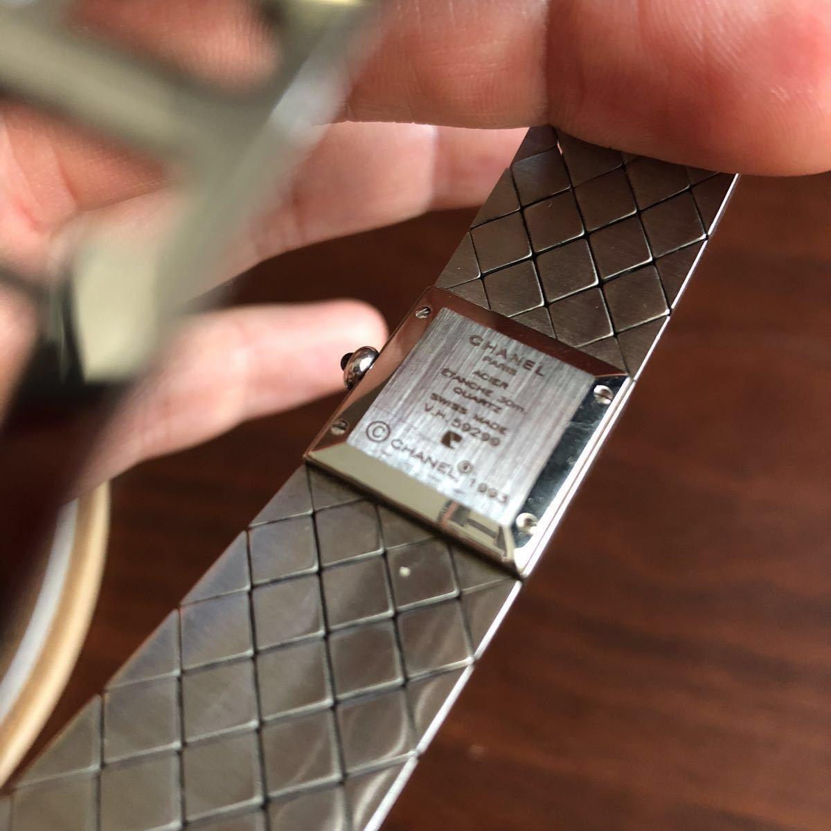 1円 シャネル CHANEL マトラッセ クォーツ ステンレス 腕時計 不動品_画像2