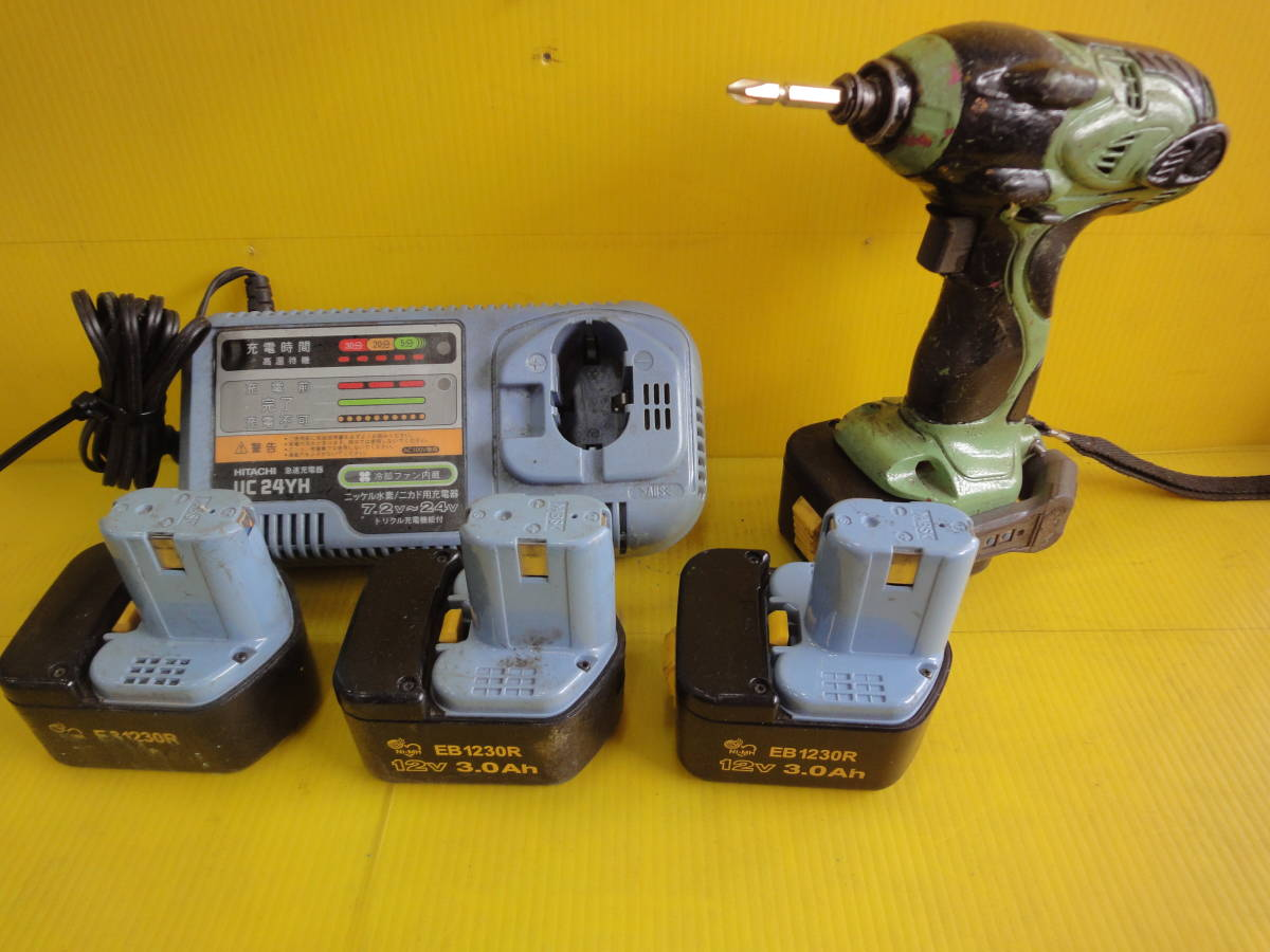 日立工機【HITACHI】「 わけあり」12V 充電式インパクトドライバ WH12DW2. 充電器. バッテリー 4ヶつき