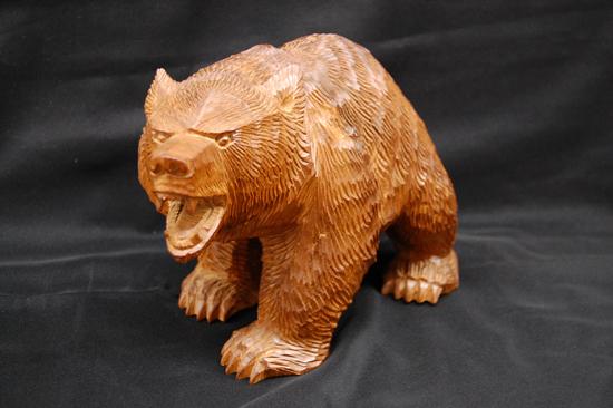 八雲町 木歩 引間二郎 木彫り 熊 全長 約 28cm 1979 札幌発_画像1