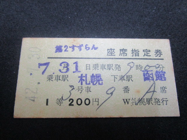 送料無料 禁煙環境で保管 国鉄/JNR 国鉄時代の硬券 「急行 第2 すずらん」