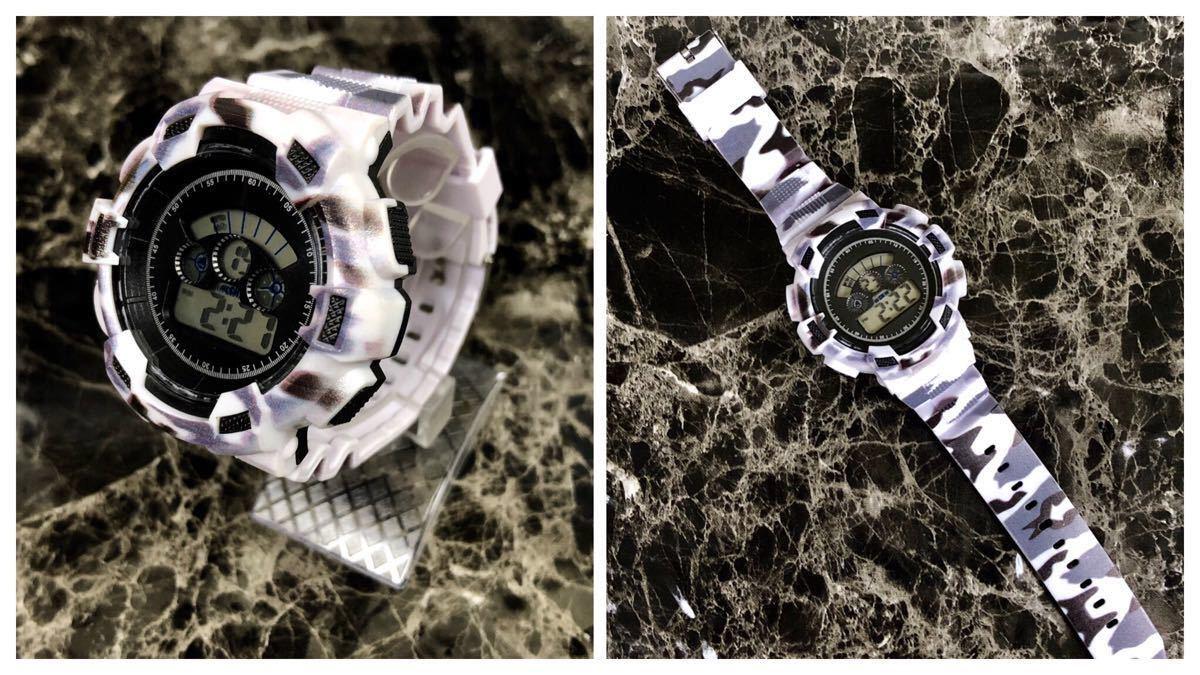 スポーツ腕時計 LEDライト デジタル 腕時計 ミリタリー 耐久性 スポーツ アウトドア ランニング アウトドア カモフラージュ 白_画像5
