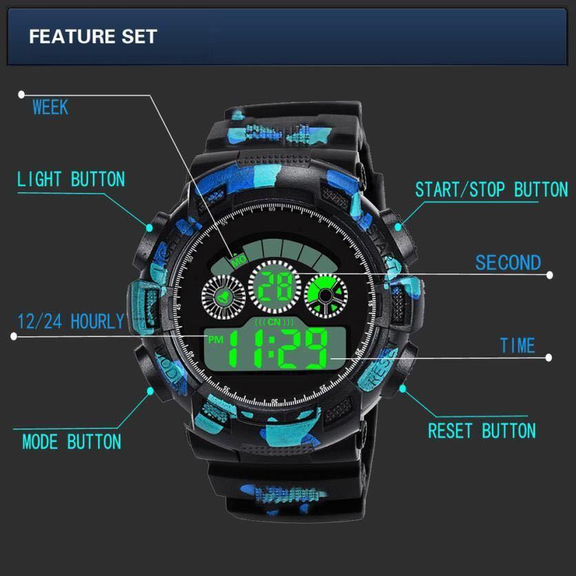 スポーツ腕時計 LEDライト デジタル 腕時計 ミリタリー 耐久性 スポーツ アウトドア ランニング アウトドア 男女兼用 カモフラージュ 青_画像4