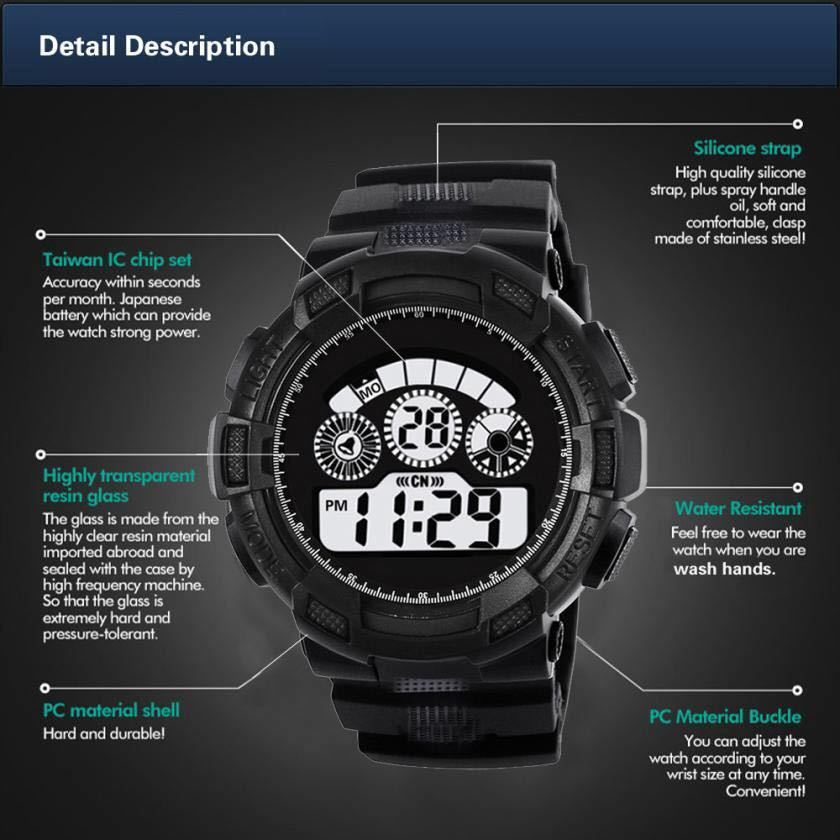 スポーツ腕時計 LEDライト デジタル 腕時計 ミリタリー 耐久性 スポーツ アウトドア ランニング アウトドア 男女兼用 ブラック シンプル_画像4