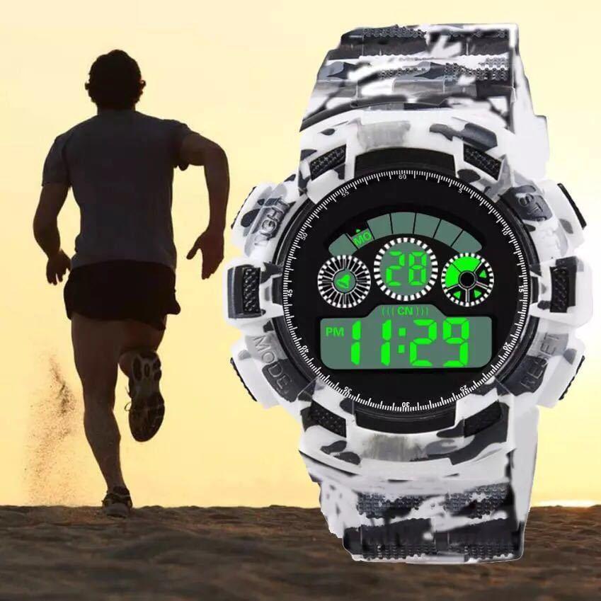 スポーツ腕時計 LEDライト デジタル 腕時計 ミリタリー 耐久性 スポーツ アウトドア ランニング アウトドア カモフラージュ 白_画像2