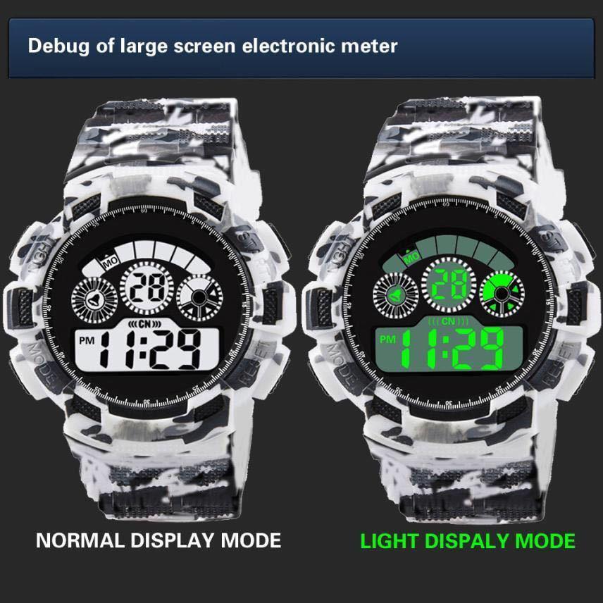 スポーツ腕時計 LEDライト デジタル 腕時計 ミリタリー 耐久性 スポーツ アウトドア ランニング アウトドア カモフラージュ 白_画像3