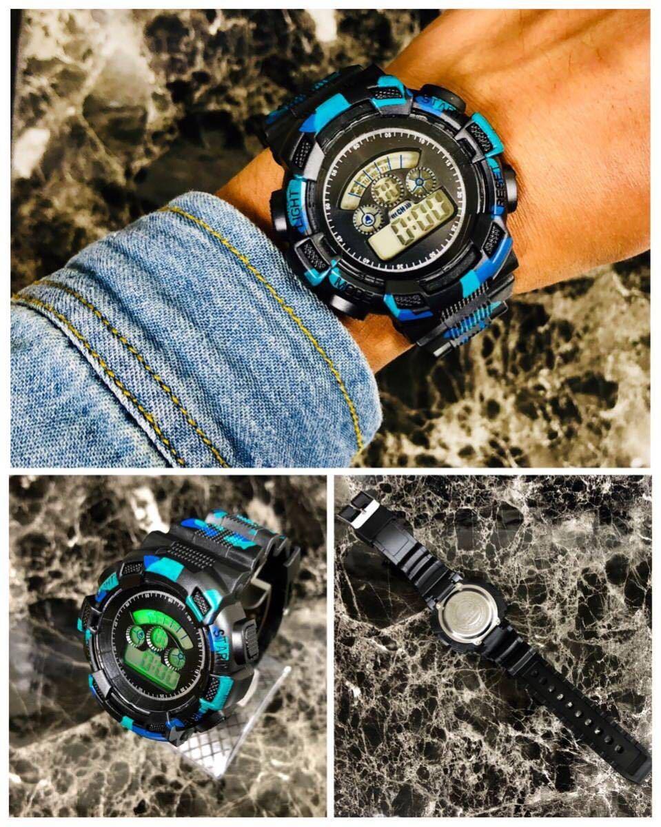 スポーツ腕時計 LEDライト デジタル 腕時計 ミリタリー 耐久性 スポーツ アウトドア ランニング アウトドア 男女兼用 カモフラージュ 青_画像2
