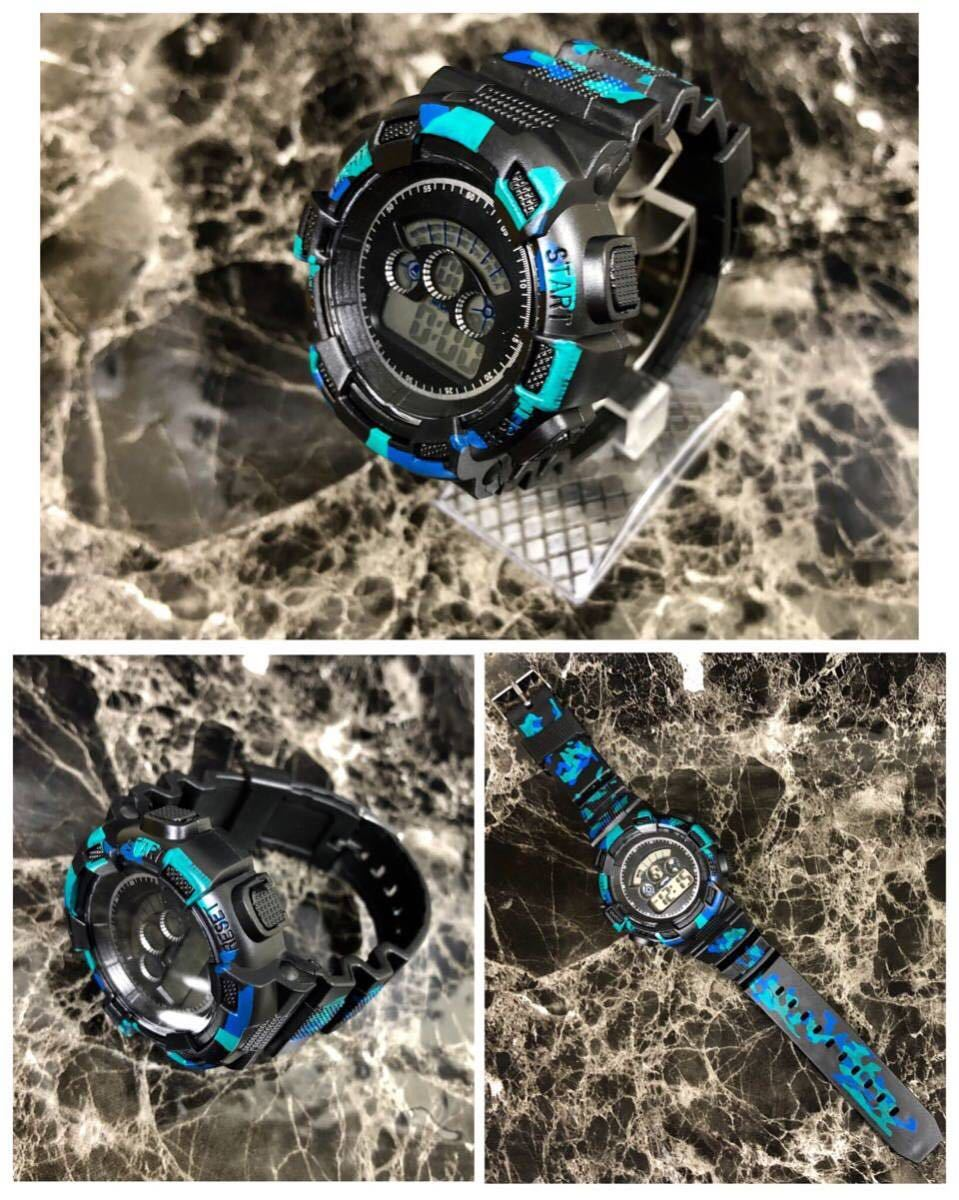 スポーツ腕時計 LEDライト デジタル 腕時計 ミリタリー 耐久性 スポーツ アウトドア ランニング アウトドア 男女兼用 カモフラージュ 青_画像3