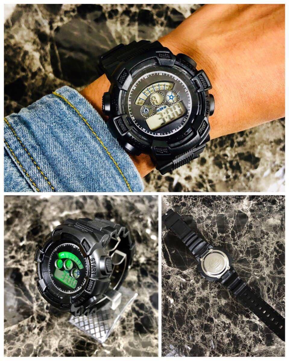 スポーツ腕時計 LEDライト デジタル 腕時計 ミリタリー 耐久性 スポーツ アウトドア ランニング アウトドア 男女兼用 ブラック シンプル_画像2