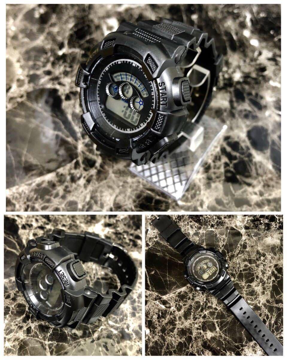 スポーツ腕時計 LEDライト デジタル 腕時計 ミリタリー 耐久性 スポーツ アウトドア ランニング アウトドア 男女兼用 ブラック シンプル_画像3