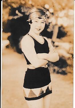 戦前ブロマイド 大林梅子 水着 8.5×13.5cm
