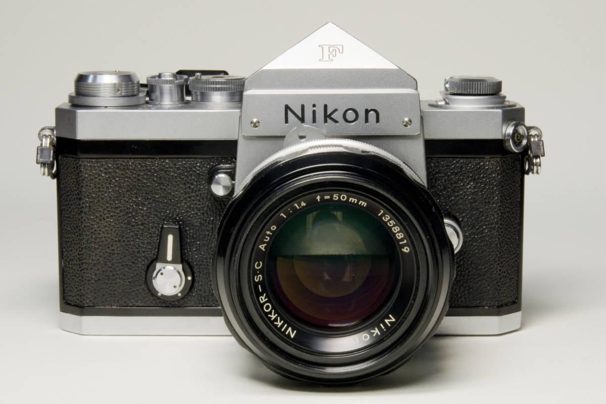 ニコンF アイレベル シルバー  Nikkor-S・C Auto 50mm 1:1.4 セット 動作確認品_画像3