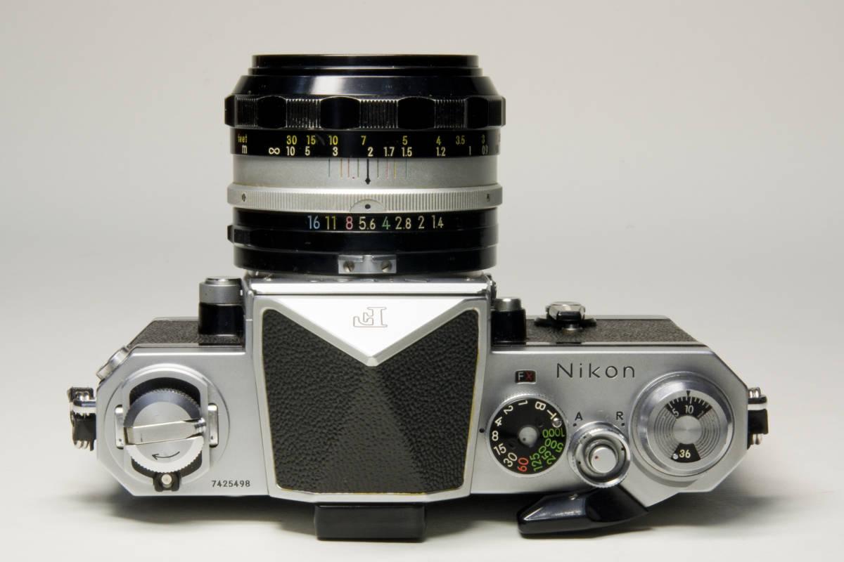 ニコンF アイレベル シルバー  Nikkor-S・C Auto 50mm 1:1.4 セット 動作確認品_画像4