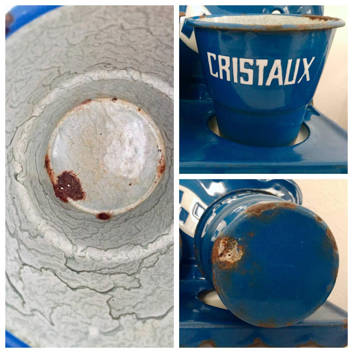 フランスアンティーク*古いホーローサボンラック 花器 カフェ風インテリア_画像8