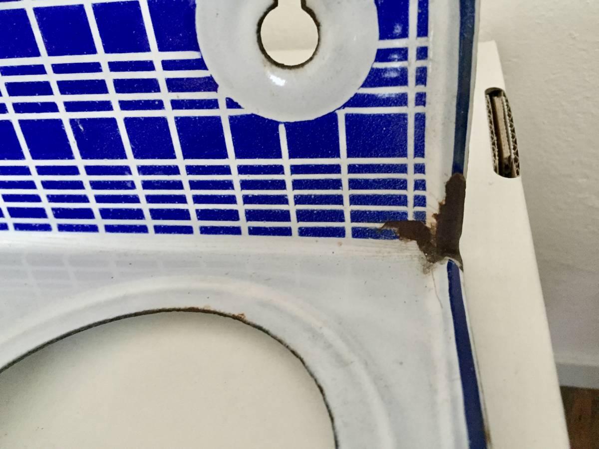 フランスアンティーク*古いホーローサボンラック BB社 花器 カフェ風インテリア_画像5