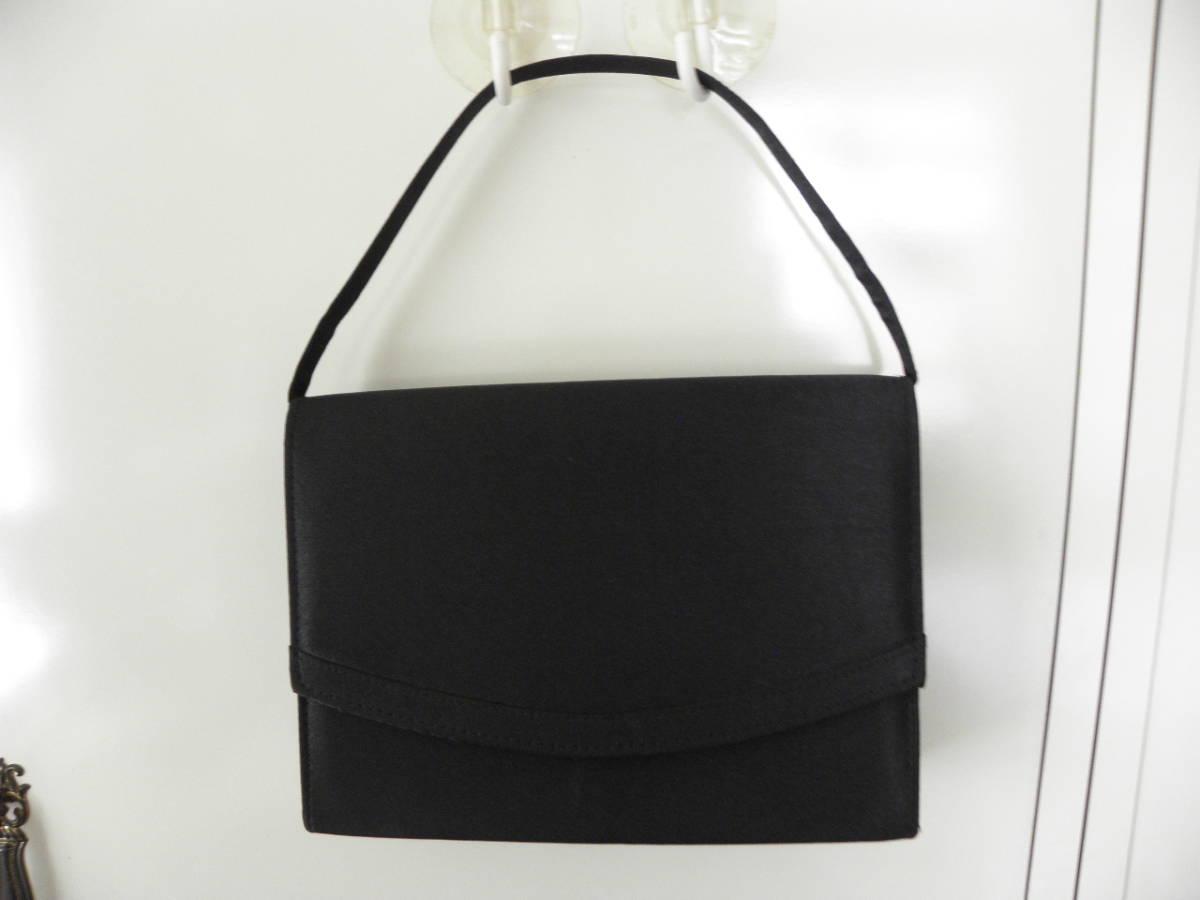 2232  お手頃お葬式バッグ シンプル★新品 黒サテン_画像2