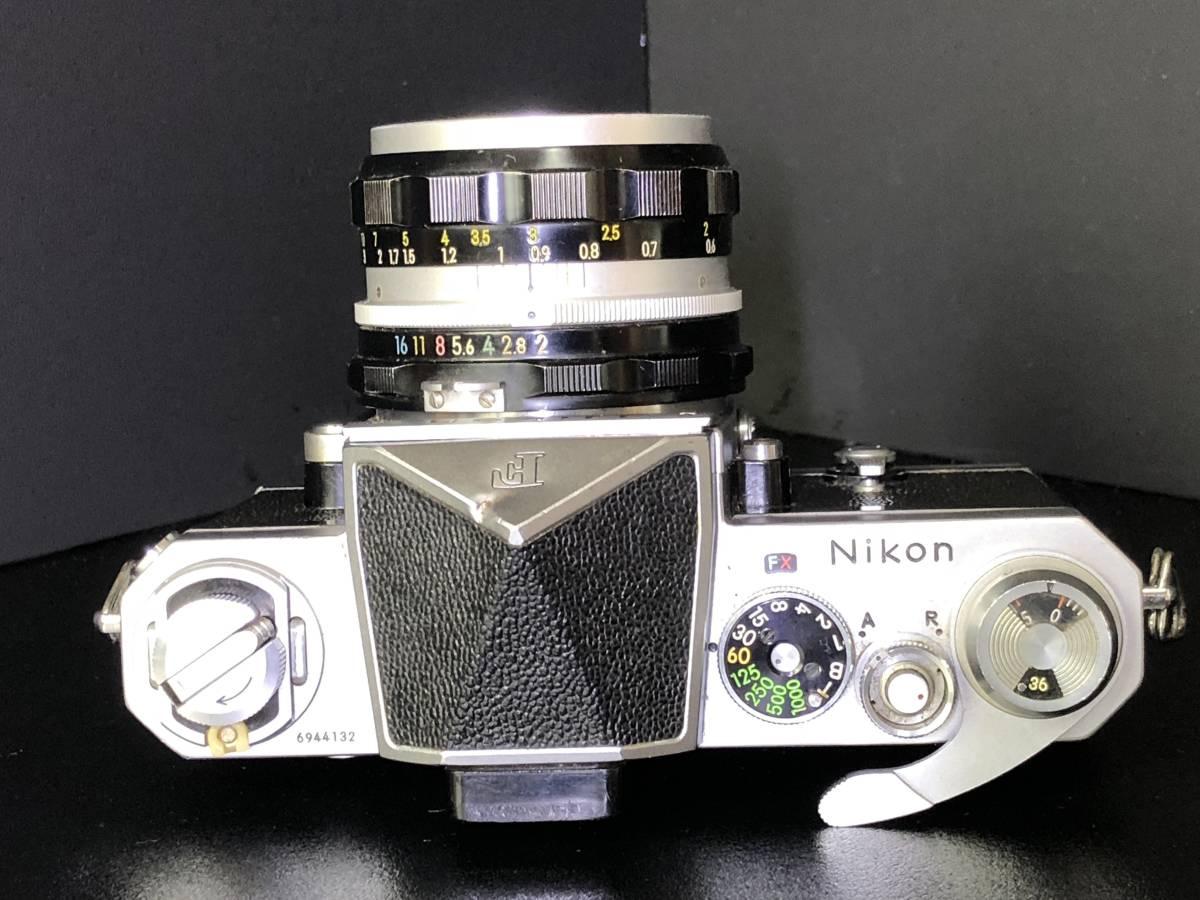 (C3)Nikon F フィルムカメラ NIKKOR-H Auto 1:2 f=50mm マニュアルフォーカス 打痕有り ジャンク_画像7