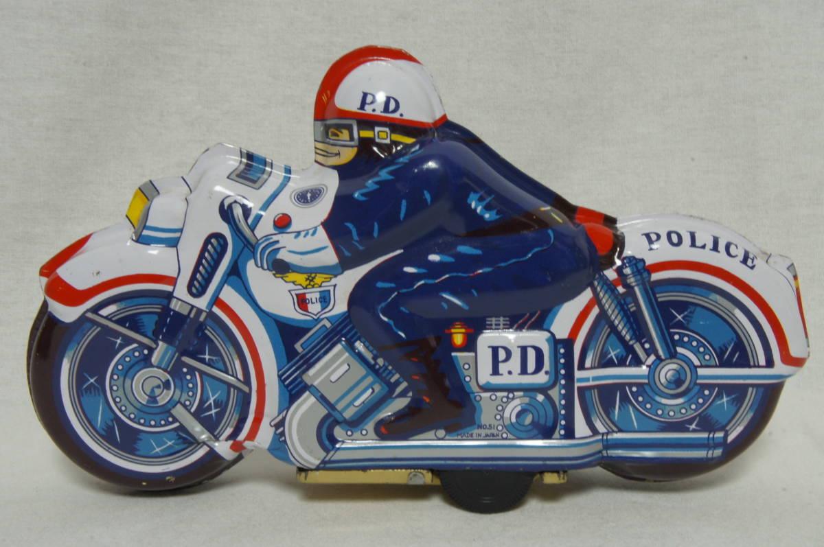 【日本製】ブリキ バイク 昭和レトロ 当時物 POLICE ポリス made in Japan_画像1