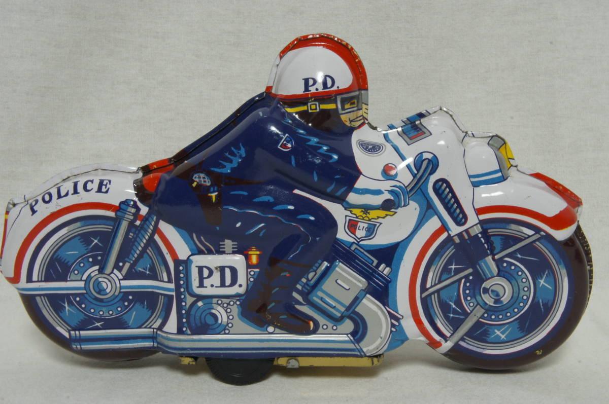 【日本製】ブリキ バイク 昭和レトロ 当時物 POLICE ポリス made in Japan_画像2