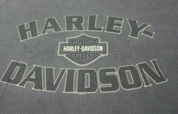 2008年製HARLEY-DAVIDSONハーレーダビッドソン ロゴプリント半袖Tシャツ/古着アメカジバイカーチャコールグレーL_画像2