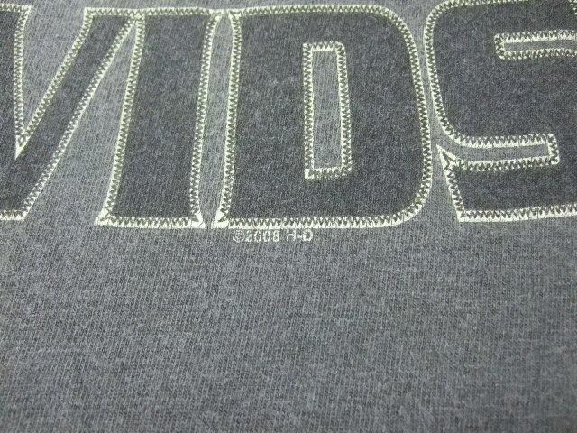 2008年製HARLEY-DAVIDSONハーレーダビッドソン ロゴプリント半袖Tシャツ/古着アメカジバイカーチャコールグレーL_画像3
