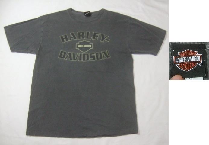 2008年製HARLEY-DAVIDSONハーレーダビッドソン ロゴプリント半袖Tシャツ/古着アメカジバイカーチャコールグレーL_画像1