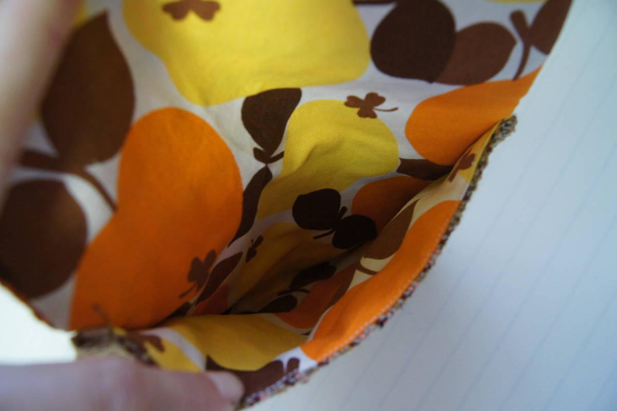 ★手織り★ さをり織りポーチ ハンドメイド スナップボタン ブラウン オレンジ ピンク イエロー さおり織り_画像3