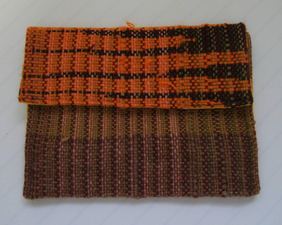 ★手織り★ さをり織りポーチ ハンドメイド スナップボタン ブラウン オレンジ ピンク イエロー さおり織り_画像1