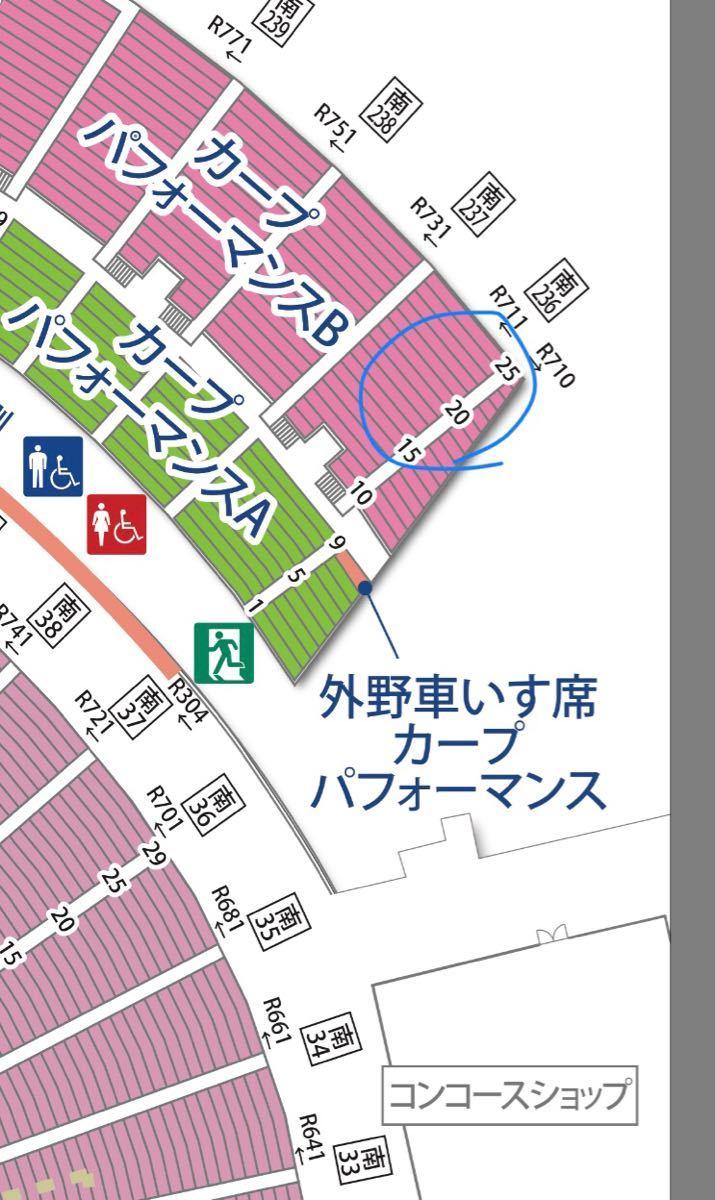 【送料込】10/4(木) 広島東洋カープ対読売ジャイアンツ パフォーマンスB 2枚