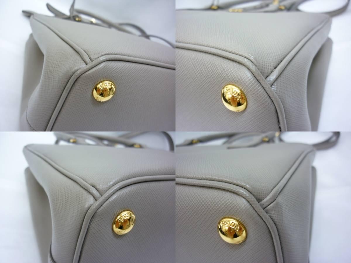超美品 PRADA プラダ サフィアーノ ルクス アルジラ グレー 2WAY ハンドバッグ ショルダー レザー トート_画像9