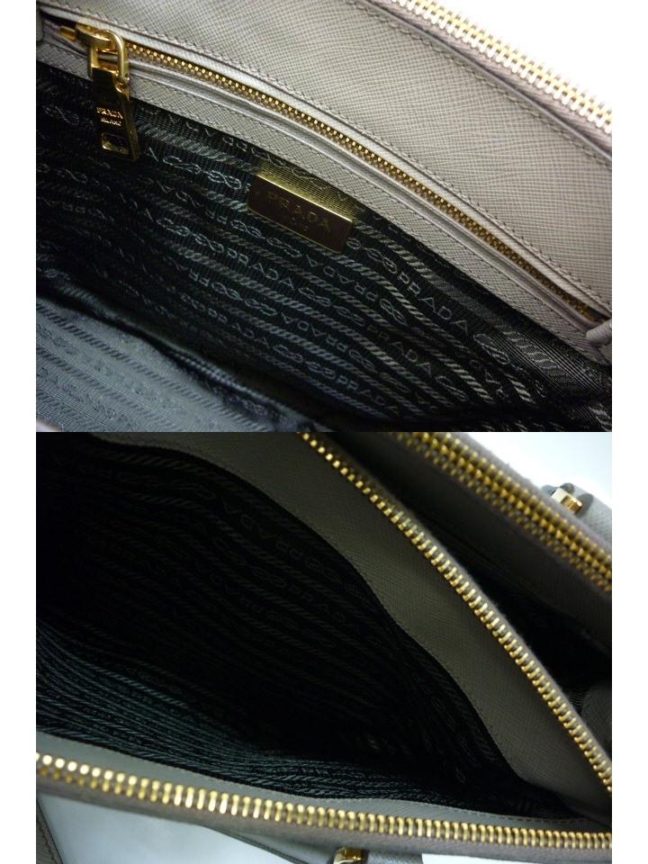 超美品 PRADA プラダ サフィアーノ ルクス アルジラ グレー 2WAY ハンドバッグ ショルダー レザー トート_画像8