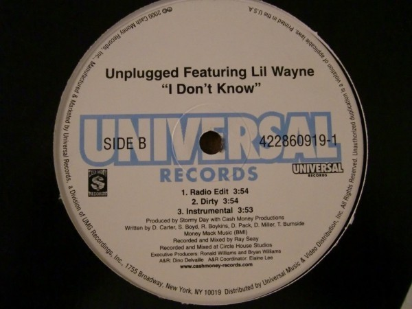 Cash Money Millionaires / Unplugged Featuring Lil Wayne Project Chick / I Don't Know_画像2