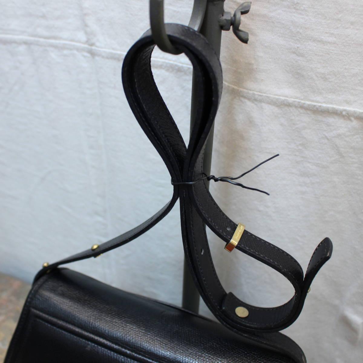 OLD LONGCHAMP LOGO LEATHER 2 WAY SHOULDER BAG MADE IN FRANCE/オールドロンシャン2wayロゴレザーショルダーバッグ_画像5