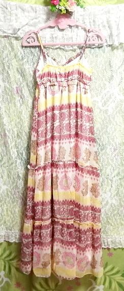 黄色ピンク白エスニックシフォンキャミソールスカートマキシワンピース Yellow pink white ethnic chiffon camisole skirt maxi onepiece_画像6