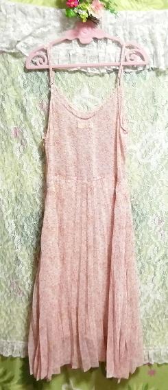 ピンクオレンジ花柄シフォンキャミソールロングスカートワンピース Pink orange floral pattern chiffon camisole long skirt dress_画像4