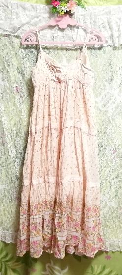 ピンク花柄綿コットン100%キャミソールロングスカートワンピースネグリジェ Pink flower pattern cotton camisole skirt dress/negligee_画像6