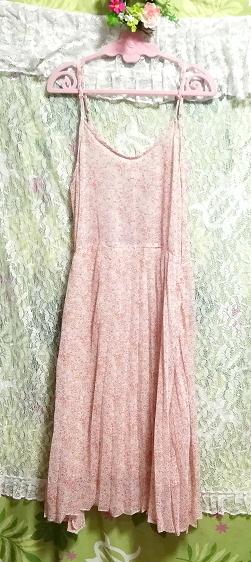 ピンクオレンジ花柄シフォンキャミソールロングスカートワンピース Pink orange floral pattern chiffon camisole long skirt dress_画像3